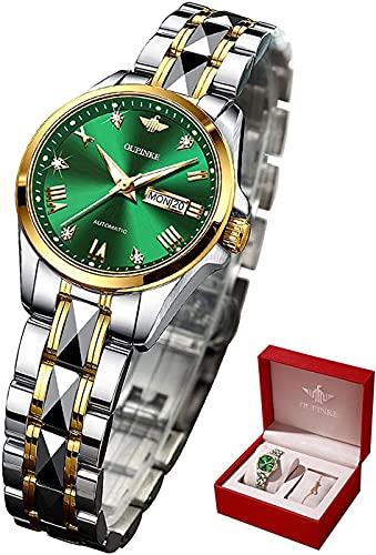 Womens Watch Automatic Ladies Girls Luxury Wristwatch Mechanical Sapphire Crystal Waterproof Luminous Bracelet Gifts Set (Green Dial)