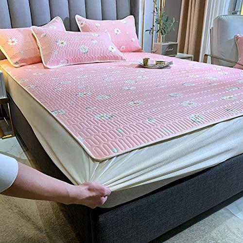 HPPSLT Sábana Ajustable súper Suave, cálida y acogedora Estera de Tres Piezas Mat-Pink_180 * 200cm
