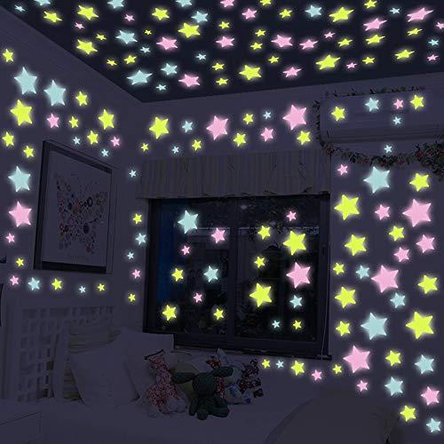 50pcs Stern-Wand-Aufkleber-Glühen im dunklen Stern-Wand-Aufkleber Stern-Mond Luminous Kinderzimmer Dekor-Tapete Plakat