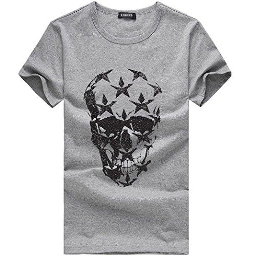 Herren T-Shirt FORH Sommer Sport-Fitness-Shirts Kurzarm Shirt mit Rundhals-Ausschnitt Blumen Drucken Oberteil für Männer Casual Tops Sweatshirt Bluse
