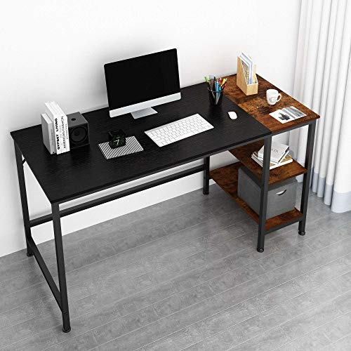 JOISCOPE Desk,Computer Desk,Office Desk,Study Table with Shelves,Writing Desk,Industrial Table Made of Wood and Metal,140 x 60 x 75 cm (Black Finish)