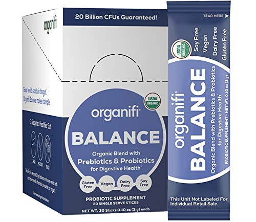 Organifi: Balance - Prebiotic and Probiotic Supplement - 30 Portable Sticks - Organic, Vegan, No Gluten, Dairy, or Soy - for Immune Support, Gut Health, and Nutrient Absorption