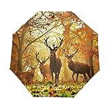 MALPLENA - Paraguas de caza con diseño de bosque otoñal y tres pliegues automáticos para hombre y mujer