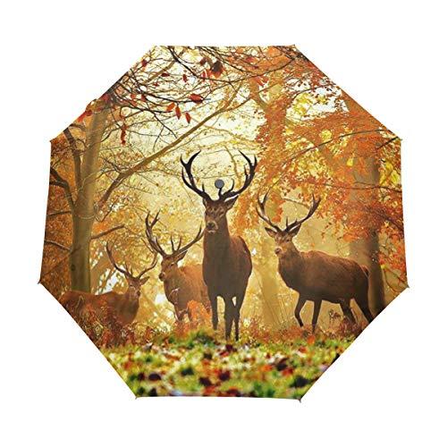 Malpela Regenschirm für Jagd, Hirsch, Herbstmotiv, 3-fach faltbar, automatisch, offen, tragbar, geeignet für Männer/Frauen/Geschenk