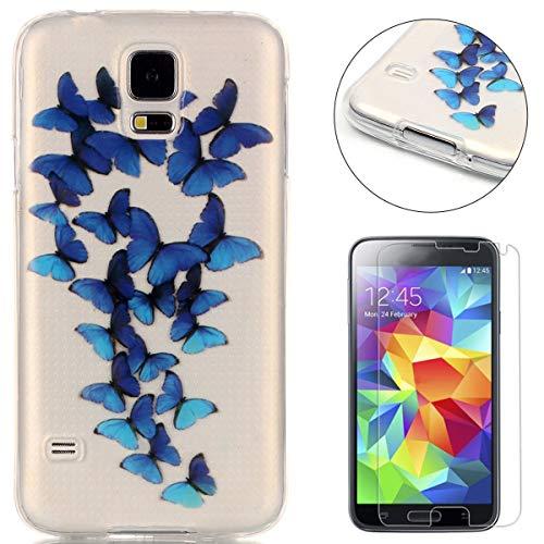 Compatible For for Samsung Galaxy S5 Silicone Gel Funda Silicona Carcasa Suave TPU Protectora Cubiertas Cubierta De La Caja De Silicona Galvanoplastia Patrón Caso-Mariposa Azul