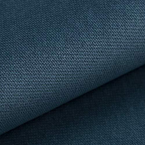 NOVELY® Passau   1 lfm   samtig weicher Chenille Möbelstoff in 26 Farben   Polsterstoff (105 Blau)