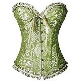 FeelinGirl Vintage Brocado Encaje con Cremallera y Cinta Ajustable Corsé para Mujer Verde Olivo 6XL/ES 50