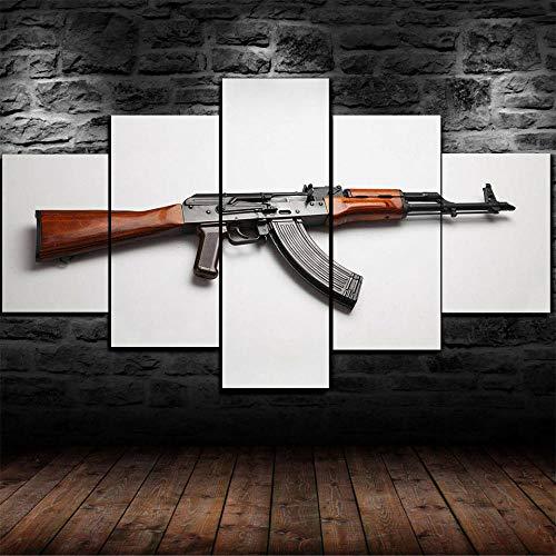 IMXBTQA Cuadro En Lienzo, Imagen Impresión, Pintura Decoración, Cuadro Moderno En Lienzo 5 Piezas XXL,125X60Cm,Ak-47 Arma Militar Kalashnikov Murales Pared Hogar Decor