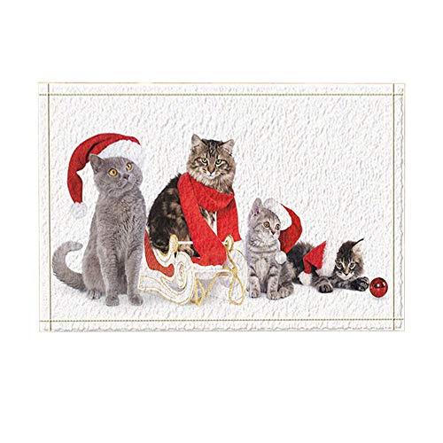 ottbrn Kerstdecoratie, mooie kat, met hoed sjaal, badmat, antislip, ingangen, bodem voor toegangsdeuren, badkamertapijt, voor kinderen, 15,7 x 23,6 inch
