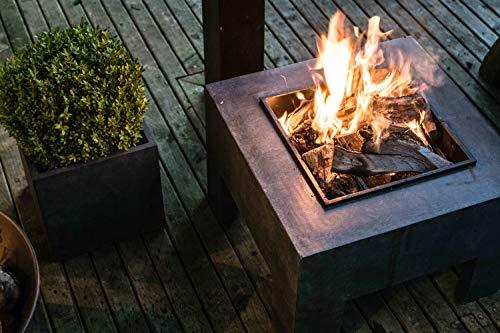Ivyline Square Firebowl & Square Console Granite 40cm Feuerschale, Tonfaser, Metall