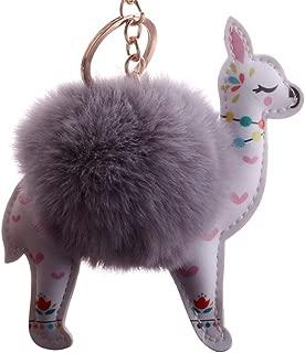 Sanwooden Cute Key Chain Lovely Sika Deer Faux Fur Ball Keyring Car Key Chain Handbag Hanging Decor Gift Girl Fashion Accessories