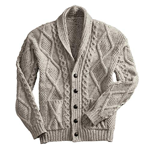 West End Knitwear Men's Aran Shawl Collar Cable Knit Cardigan Sweater - Oatmeal - Large