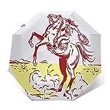 Ombrello Portatile Automatico Antivento, Ombrello Pieghevole Compatto, Folding Umbrella, Baldacchino Rinforzato, Impugnatura Ergonomica, Disegno a tratteggio occidentale