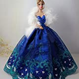 Icollect 1 PCS Embroidery Wedding Party Gown Dresses & Clothes for Barbie Doll- Blue