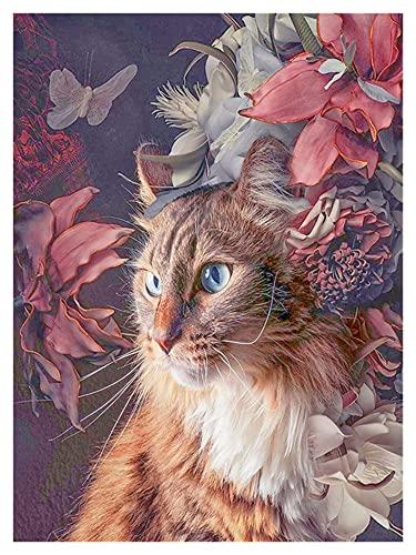 Whinop Pintura De Bricolaje por Kit De Números, Pintura De Acrílico De Animales De Flor por Números Arte De La Pared, sobre Lienzo Abstracto Pintura Al Óleo Pintada A Mano para El Hogar
