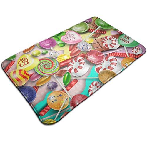 kThrones Alfombra de baño Antideslizante,Piruletas de Colores y Dulces de Diferentes Formas,Alfombra de Ducha(75cmx45cm)