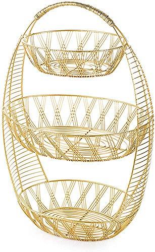 Marco vegetal de 3 capas Fruta de fruta Cesta de frutas pan pan vegetal de hierro fundido estilo retro nostálgico estilo decoración,Gold