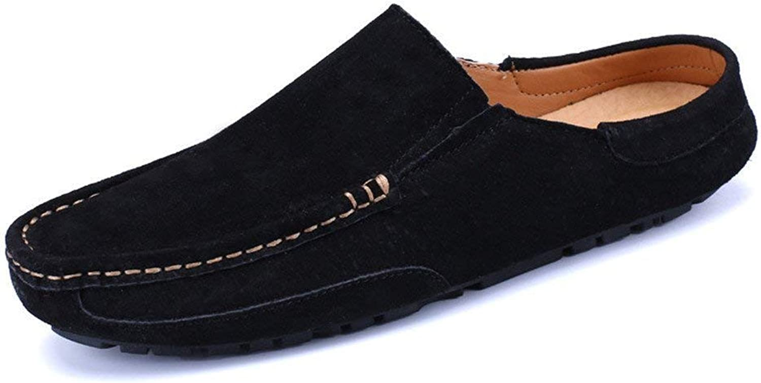 FuweiEncore Men's Moccasins shoes, Men Driving Penny Loafers Genuine Leather Casual Slippers Slip-on Boat Mules (color  Khaki, Size  40 EU) (color   Black, Size   44 EU)
