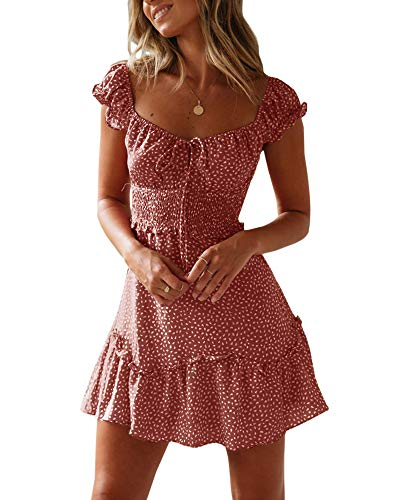 Yobecho Womens Summer Ruffle Sleeve Sweetheart Neckline Printing Dress Mini Dress Brick Red