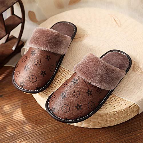 B/H Zapatillas mullidas de Interior de Invierno,Zapatillas de Cuero de Alta Gama de Invierno,Zapatillas de algodón para el hogar del Dormitorio-café_41-42,Suave Felpa Calor Zapatillas Suaves