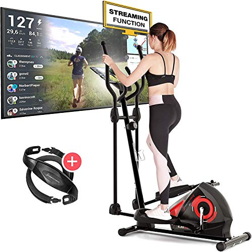 Sportstech CX608 Crosstrainer für Zuhause inkl. VORMONTAGE | Deutsches Qualitätsunternehmen | Video-Events & Multiplayer App | mit Bluetooth Konsole | Heimtrainer Ergometer inkl. Pulsgurt