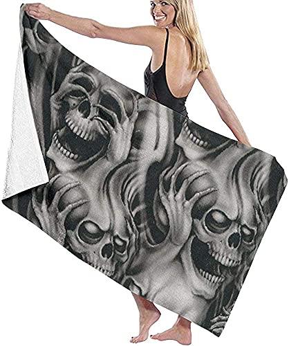 Cool Evil - Toalla de baño con estampado de calavera, de microfibra, ultra suave, toalla de playa para hombres y mujeres, 80 x 130 cm