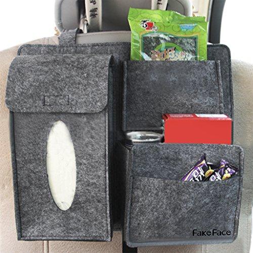 FakeFace Filz Autositz-Rückseite Rückenlehnenschutz Utensilientaschen Auto Sitzlehne Aufbewahrungstasche Organizer Speicher (Dunkelgrau)