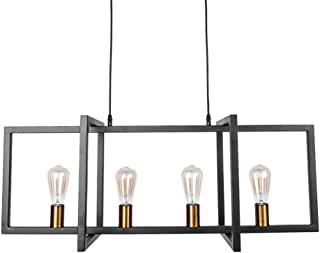 Lingkai Lámpara colgante de metal cuadrada industrial vintage Luminaria con rectángulo Sombra Acabado Retro Retro Vintage rústico Edison industrial Lámpara de techo Linear Chandelier 4-Lights