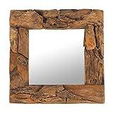 Design Delights - Miroir mural Teak 50 au design élégant - Bois de teck (érodé), naturel, 50 x 50 x 3cm (H x L x P)