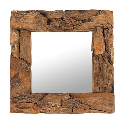 "DESIGN DELIGHTS Holz WANDSPIEGEL Teak 50\"" | Teakholz (erodiert), Natur, 50x50x3 cm (HxBxT) | Spiegel mit Rahmen aus echtem Vintage Treibholz/Fundholz"