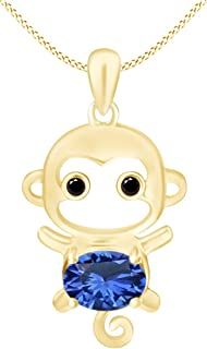 Simulated Gemstone Cute Monkey Animal Cartoon Pendant Necklace in 14K Yellow Gold Over Sterling Silver