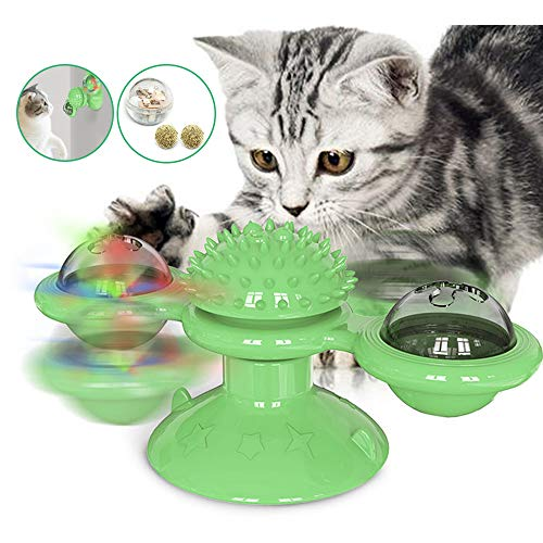 Souarts Interactief kattenspeelgoed Turning windmolen platenspeler haarborstel kattenbal met kattenmunt LED, groen
