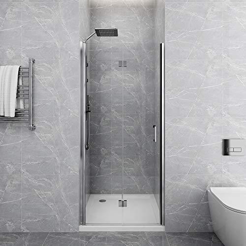 EinzelFalttür Duschkabine Duschtür Faltbare Duschwand in Duschkabine mit doppelseitiger Nano-Beschichtung ESG Glas Duschtür Duschwand (90x195cm[BxH])