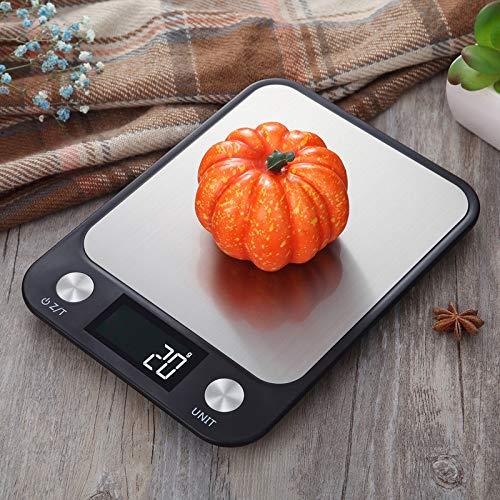 yurunn Báscula de Cocina Digital báscula electrónica Gran Superficie de pesaje iluminación Monitor LCD Modelos de Carga Negro 5 kg / 1 g
