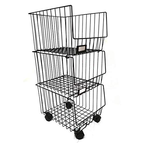 Wonepic Cestos para Colgar Organizador de Almacenamiento con Ruedas 3 Tier Cestas De Metal del Organizador Carro Multiuso para Frutas, Verduras, o Almacenamiento de Alimentos