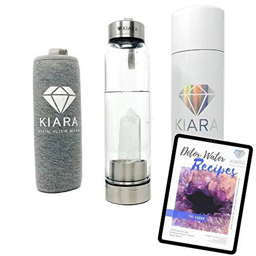Kiara Crystal Elixir-Flasche, 473 ml, natürliche Edelstein-Wasserflasche für die Herstellung von Kristall-Edelstein, inklusive Premium-Heilkristall, kostenlosem E-Book und Neopren-Hülle (klarer Quarz)