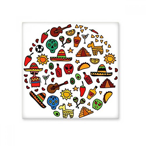 Schedel Gitaar Peper Voetbal Mexicaanse Cultuur Ronde Illustratie Keramische Bisque Tegels voor het verfraaien Badkamer Decor Keuken Keramische Tegels Wandtegels L