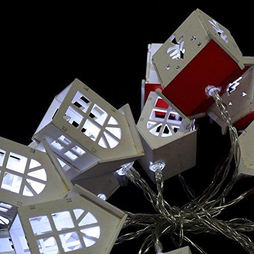 Guirnalda led de Navidad con 20 Luces Flash Blancas de Casitas de...