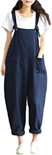 XINHEO Womens Plus-Size Baggy Style Pocket Suspenders Wide Leg Overalls