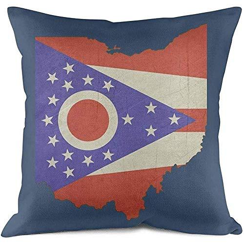 Sonder-Shop Ohio Flag Kissenbezüge Couch Sofa Casual Atmungs Home Life Kissenbezug Natural Design Kissenbezug