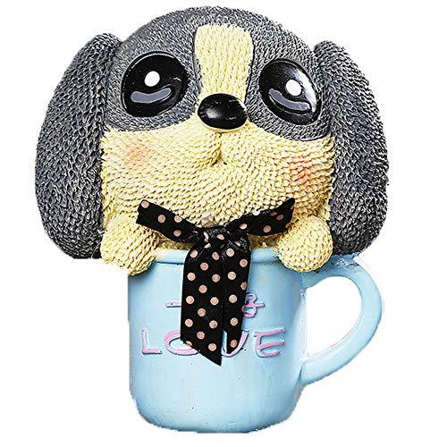 Kassa MYKK Piggy Bank Puppy Couple Gifts Home Decor Display Cartoon Pup Savepot Present 16 * 14cm Blauw