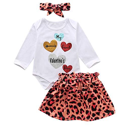 puseky mijn eerste Valentijnsdag Outfits pasgeboren baby meisje luipaard print Romper broek hoofdband kledingset