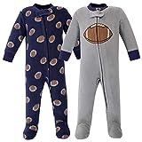 Hudson Baby Unisex Baby Fleece Sleep and Play, Football, 0-3 Months