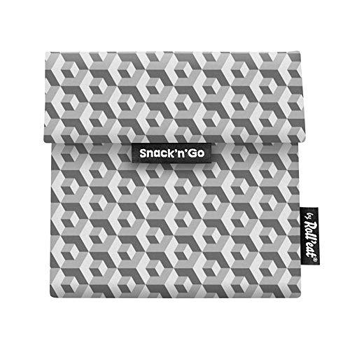 Roll'eat Snack'n'Go – Snackbeutel | wiederverwendbarer, ökologische Lunchbox, BPA frei, leicht zu reinigender Snackbag - Motiv: Tiles Quadrate, Farbe: grau, 18 x 18cm