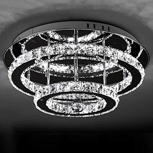 Lámpara De Techo LED Con Control Remoto Moderna Luz De Techo De Cristal K9 Sala De Estar Comedor Dormitorio Elegante Lámpara De Espejo De Acero Inoxidable Lámpara Colgante Para Cocinas