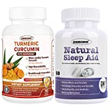 Turmeric-Curcumin with Bioperine Highest-Potency Available Ultra High-Absorption, Sleep Aid, Natural Herb Sleeping Pill for Adults -Stress, Insomnia, Anxiety Relief - Faster Absorption Dissolve Tablet