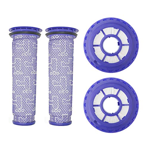 Lemige 2 Pack HEPA Post Filters & 2 Pack Pre Filters Replacement for Dyson DC65 DC66 DC41 UP13 UP20 Animal, Multi Floor and Ball Vacuums, Compare to Part #920769-01&920640-01