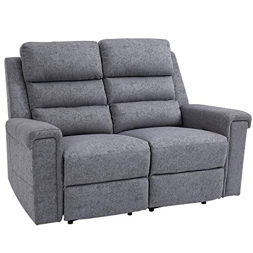 HOMCOM Modern 2 Seater Manual Reclining Sofa...