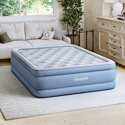 Simmons SB9517PLEXPQN Beautyrest Posture-Lux Express Air Bed, Cushioned Support, Adjustable Comfort Control, Hands-Free Pump, 15  Queen, Blue