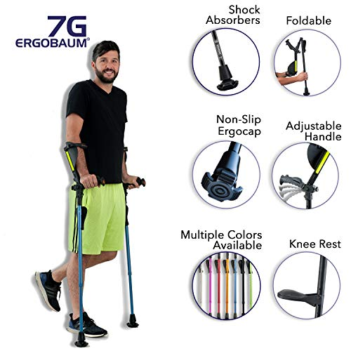 Ergobaum 7G by Ergoactives. 1 Pair (2 Units) of Ergonomic Forearm Crutches - Adult 5' - 6'6''...